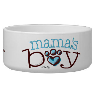 Mama's Boy Blue Paw Print Heart Dog Water Bowl