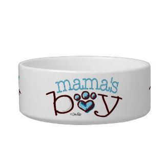 Mama's Boy Cat Blue Paw Print Bowl