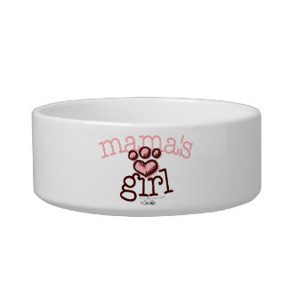Mama's Girl Cat Pink Paw Print Heart Bowl