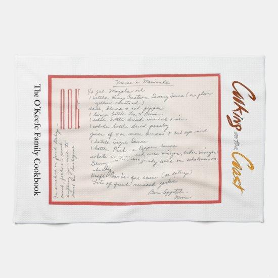 Mama's Handwritten Marinade Recipe Towel