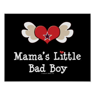 Mama's Little Bad Boy Funny Baby Kids Poster