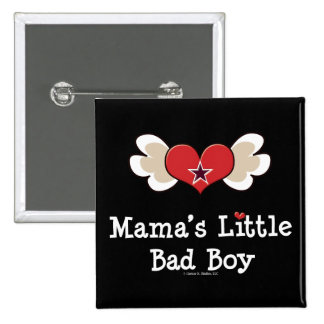 Mama's Little Bad Boy Funny Kids Button