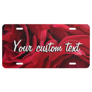 Mama's romantic red velvet roses floral photo license plate