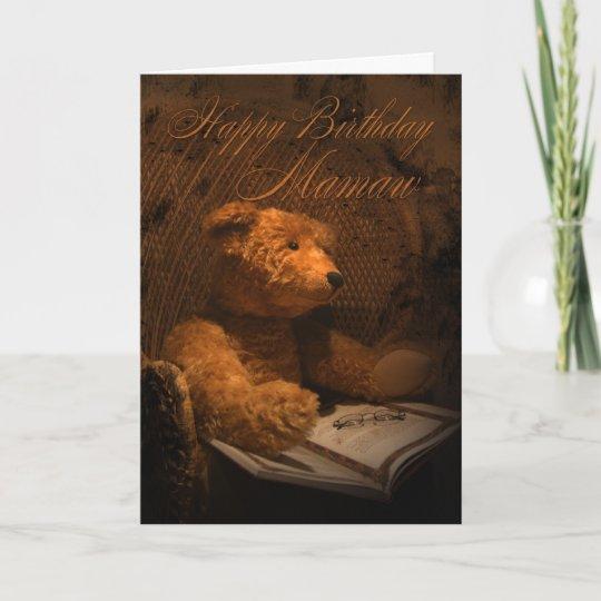 Mamaw Birthday Card Old Fashioned Teddy Bear Zazzle
