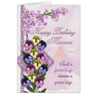 Mamaw Birthday Card - Pansy