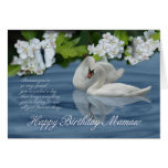 Mamaw Birthday Card - Swans And Butterfly