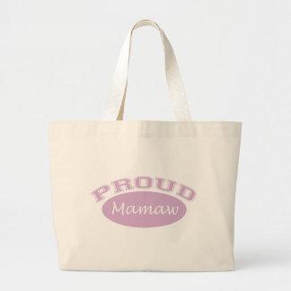 Mamaw orgulloso (rosa) bolsa tela grande