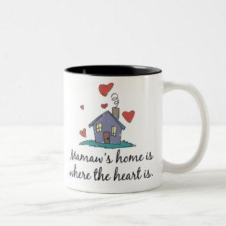 Mamaw's Home is Where the Heart is Two-Tone Coffee Mug