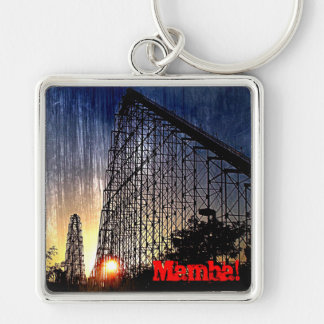 Mamba Roller Coaster World's of Fun Kansas City Silver-Colored Square Keychain