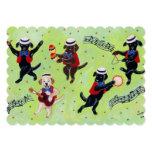 Mambo Labrador Musicians Painting 5x7 Paper Invitation Card