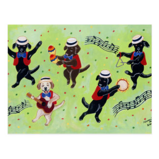 Mambo Labrador Musicians Painting Postcard