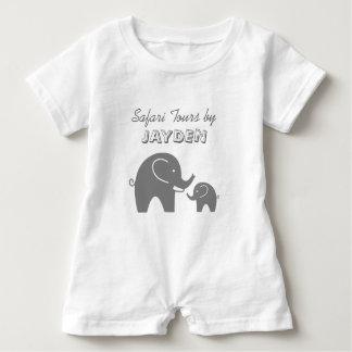 Mameluco gris de encargo del bebé del elefante del