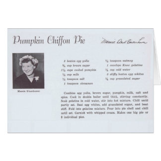 Mamie Eisenhower Pumpkin Chiffon Pie recipe Card