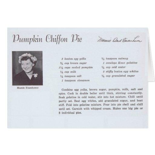 Mamie Eisenhower Pumpkin Chiffon Pie recipe Greeting Card
