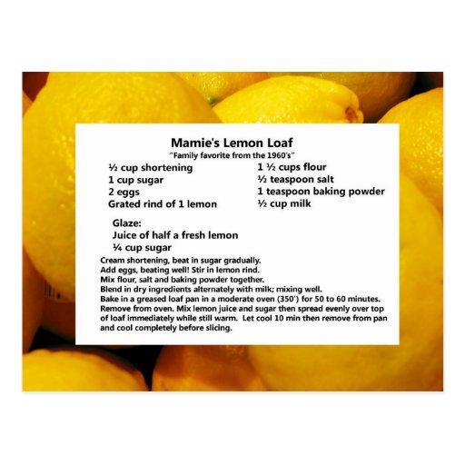 Mamie's Lemon Loaf Post Cards