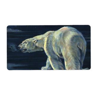 Mamífero marino del vintage, oso polar, ártico del etiquetas de envío