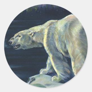 Mamífero marino del vintage, oso polar, ártico del pegatina redonda