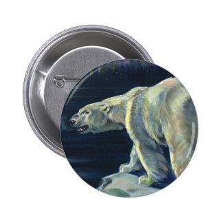 Mamífero marino del vintage, oso polar, ártico del pin