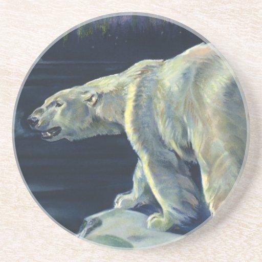 Mamífero marino del vintage, oso polar, ártico del posavasos para bebidas