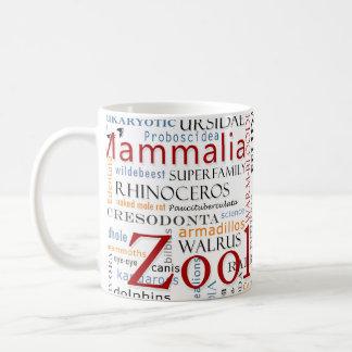 Mamíferos en tipografía taza