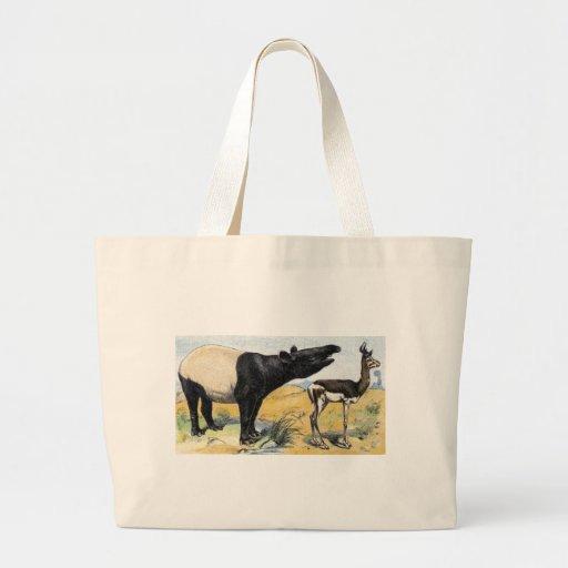 Mamíferos:  tapir y gazelle bolsa tela grande