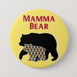 Mamma Bear, Autism Mom Pride Pinback Button