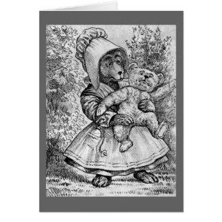 Mamma Bear - Letter M - Vintage Teddy Bear Card