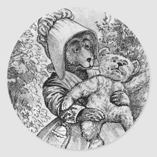 Mamma Bear - Letter M - Vintage Teddy Bear Classic Round Sticker