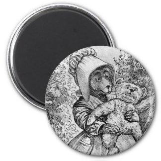Mamma Bear - Letter M - Vintage Teddy Bear Magnet
