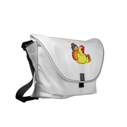 mamma chicken hen with one chick.png messenger bag