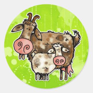 mamma goat classic round sticker