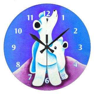 Mamma Polar Bear With Baby Wall Clock