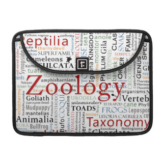 Mammals and Herpetology in Typography Sleeve For MacBook Pro
