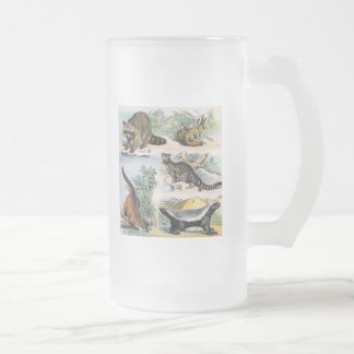 Mammals:  five small illustrations frosted glass beer mug