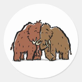 mammoth couple classic round sticker