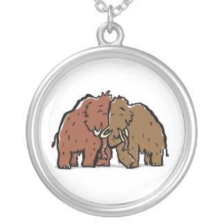 mammoth couple silver plated necklace