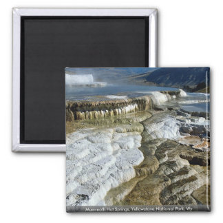 Mammoth Hot Springs, Yellowstone National Park, Wy 2 Inch Square Magnet