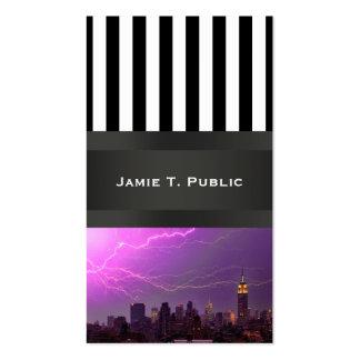 Mammoth Lightning Strike Over Midtown NYC Skyline Business Card