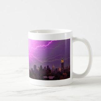 Mammoth Lightning Strike Over Midtown NYC Skyline Coffee Mug