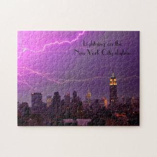 Mammoth Lightning Strike Over Midtown NYC Skyline Jigsaw Puzzle