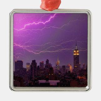 Mammoth Lightning Strike Over Midtown NYC Skyline Square Metal Christmas Ornament