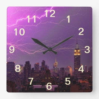 Mammoth Lightning Strike Over Midtown NYC Skyline Square Wall Clock