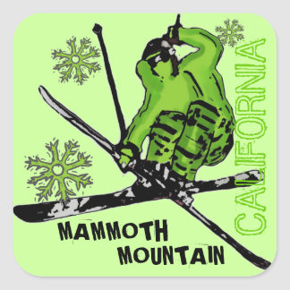 Mammoth Mountain California green skier stickers