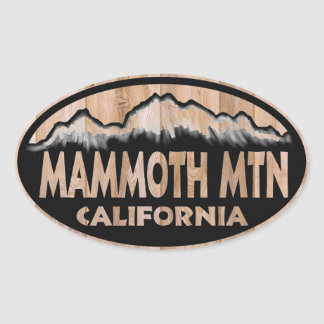 Mammoth Mountain California wood oval stickers