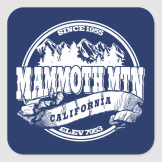 Mammoth Old Circle Blue Square Sticker