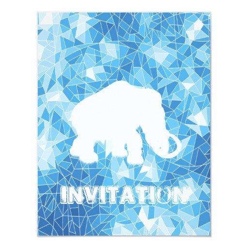 Mamut cristalino azul de la edad de hielo invitación 10,8 x 13,9 cm