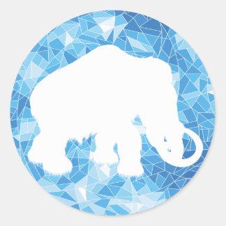 Mamut cristalino azul de la edad de hielo pegatina redonda