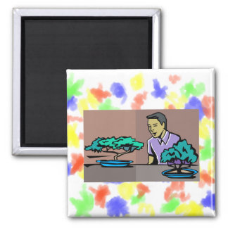 Man admiring two bonsai trees graphic 2 inch square magnet