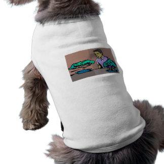 Man admiring two bonsai trees graphic dog t-shirt