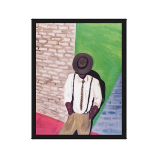 MAN AGAINST THE WALL:  REPRINT OIL CANVAS PRINT
